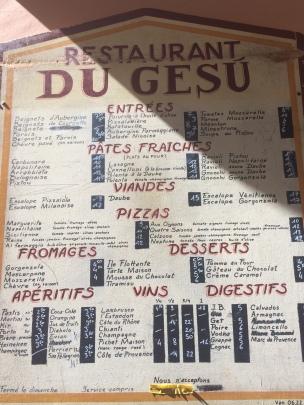 menu at Gesu restaurant